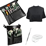 4 Pieces Makeup Artist Tools Include Cosmetic Makeup Brush Bag with Belt, Hand Makeup Mixing Tray Clear Cosmetic Foundation Tray with Spatula, Salon Barber Makeup Cape Hair Coloring Styling Cape Apron