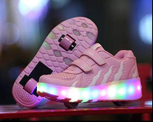 YURU Rollschuhschuhe , Led Light Rollschuhschuhe Für Kinderschuhe Two Wheels Luminous Sneakers , Kids Boys Girls,A-EU39