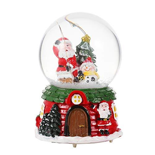 TOYANDONA Boule à Neige de Noël Verre Cristal Vacances Santa Boule à Neige Glitter Lumière Hiver Boule à Neige Noël Décoration de Table Cadeau pour Femmes Filles Enfants (M)