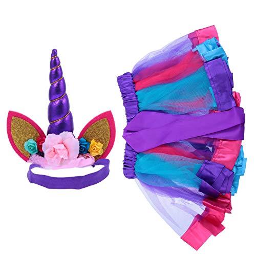 PRETYZOOM Nias Princesa Unicornio Tulle Tutu Dress with Headband Ballet Dance Ruffle Tutu Skirts Dress Outfits for Birthday Party Dress up Easter Party Supplies Prpura L