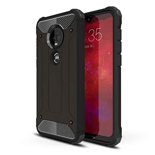 LXHGrowH Funda Moto G7, Fundas 2in1 Dual Layer Anti-Shock 360° Full Body Protección TPU Silicona Gel Bumper y Duro PC Armadura Carcasa para Motorola Moto G7 / G7 Plus, Negro