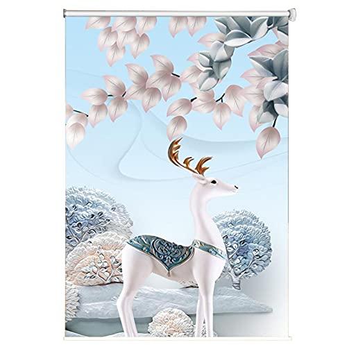 Jcnfa- Persiana Enrollables Estores Persiana Enrollable Impermeable, 60cm/80cm/100cm/120cm/140cm/160cm de Ancho,para El Hogar/Oficina/Baño Estor (Color : Flowers, Size : 80x140cm)