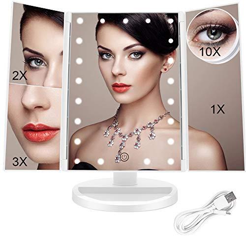FASCINATE LED Kosmetikspiegel mit Beleuchtung, Faltbare Schminkspiegel mit 10x 3X 2X Vergrößerung,Beleuchtete Makeup Spiegel mit Licht, 180 Grad Drehbare USB Lade Batteriebetriebene für Frauen