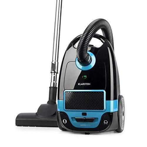 Klarstein Mister Eco Bodenstaubsauger - Staubsauger mit Teleskoprohr, Bodensauger, 450 Watt, 2 Liter Volumen, Allergiker-geeignet, schwarz-blau