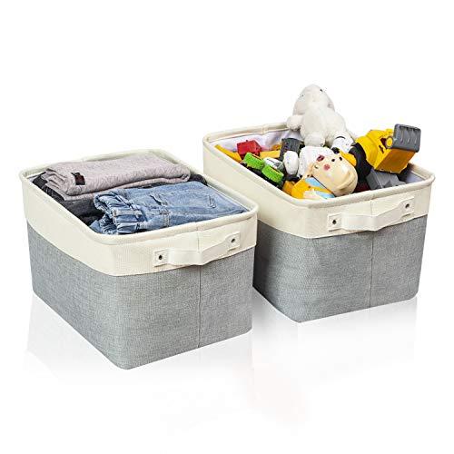 BrilliantJo 2 Stück Aufbewahrungsbox, groß Ordnungsbox mit Leder Griff Faltbarer Stoffbox, dickwandiger Aufbewahrung Kisten für Kleidung, Spielzeug (Waschbar, 40 * 30 * 25cm, Grau+Beige)