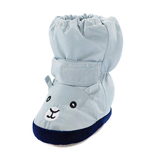 LACOFIA Baby Jungen Mädchen rutschfest Weiche Sohle Hausschuhe Stiefel Kleinkind Winter Warm Schuhe Blau Bär 6-12 Monate