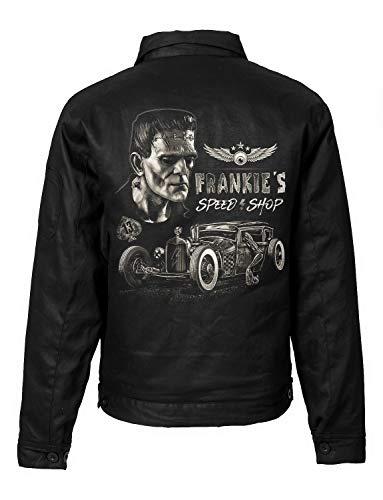 Trillest Gear Herren Worker Jacke Hot Rod Frankie's Garage Rock N Roll Greaser Biker Rockabilly Rocker (L)