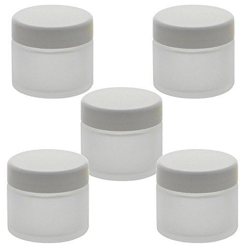 Matt Glas-Tiegel 50ml mit Deckel Weiß, Leere Kosmetex Glas Creme-Dose, Kosmetik-Dose aus Mattglas, Matt - Weiß, 5 Stück