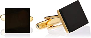 BUCKLE 1922 Men's Black Glass Square with Gold Plated Coating Cufflinks, Gold, One Size