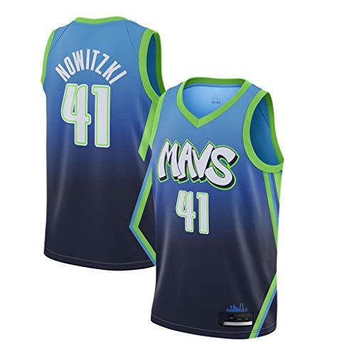 XH-CHEN Men's NBA Jersey Mavericks 41# Nowitzki Jersey Bordado Retro, Transpirable Ropa de Entrenamiento sin Mangas Tops Chaleco para los fanáticos del Baloncesto,Verde,S