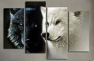 Wolf Poster 4 Piece Big Wall Art Picture Black And White Two Wolf Animal Canvasposters Art Print Canvas Artwork Wall Home
