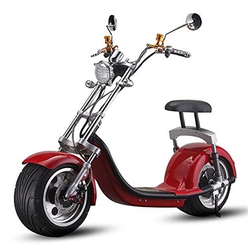 1500W Bicicleta eléctrica Motocicleta, Scooter de neumático Ancho y Gordo Chopper Coche eléctrico/Scooter para Adultos/con Asiento/Milla 40 km para la Escuela, Moda