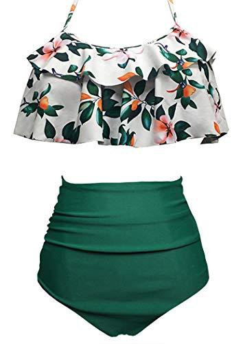 AOQUSSQOA Damen Badeanzug Rüschen Hals Hängen Bikini Sets Zweiteilige Bademode mit Hoher Taille Strandkleidung (EU 42-44 (L), Grüne Blume)
