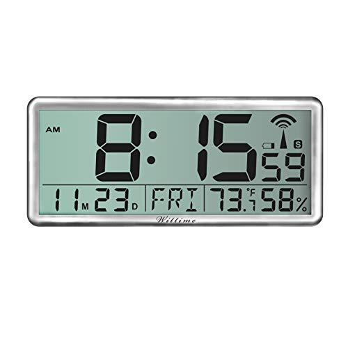 Wittime Reloj de pared atómico 4080, Jumbo 3.9, reloj de pared inteligente fácil de leer, relojes de escritorio de 14 pulgadas con...