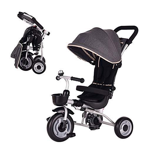 YumEIGE Driewieler voor kinderen, opvouwbaar, met zonnedak, 1-6 jaar, verjaardagscadeau voor kinderen, kinderwagen, trike, gewicht 25 kg (jongens en meisjes) verkrijgbaar Grijs