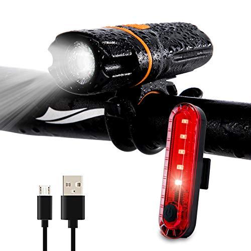 Wastou Fahrradlicht, superhelles Fahrrad-Frontlicht, 1200 Lumen, IPX6 wasserdicht, 6 Modi, Fahrradlampe, Taschenlampe mit USB-wiederaufladbarem Rücklicht (USB-Kabel im Lieferumfang enthalten)