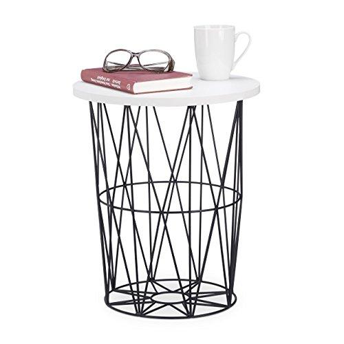 Relaxdays runder Beistelltisch mit Metallkorb, dekorativer Couchtisch, Wohnzimmertisch modern, 42cm hoch, weiß-schwarz