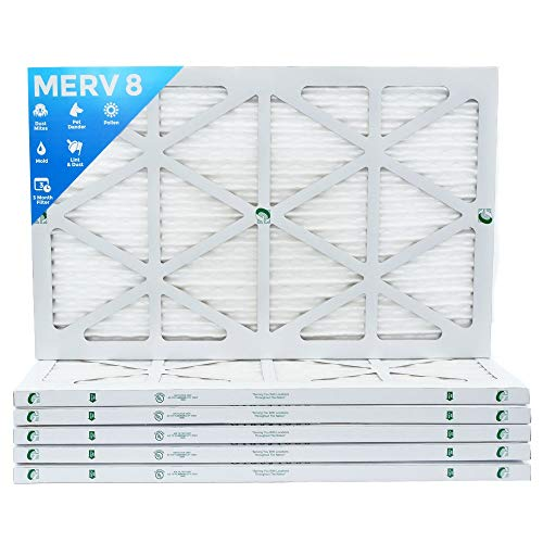 16x25x1 Merv 8 Pleated AC Furnace Air Filters. 6 Pack. Actual Size: 15-1/2 x 24-1/2 x 7/8.