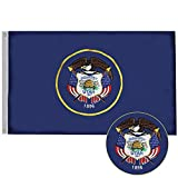 G128 - Utah State Flag | 3x5 feet | Double Sided Embroidered 210D - Indoor/Outdoor, Brass Grommets, Heavy Duty Polyester, 2-ply