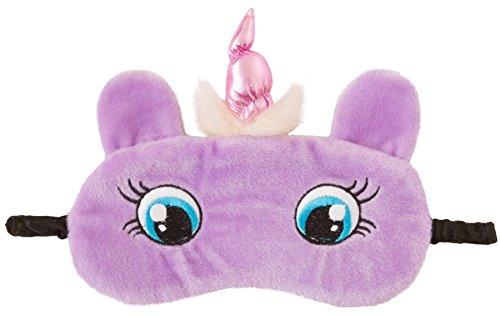 Augenbinde, flauschig, mit 3D-Ohren, niedliches Tier, Katze, Eule, Panda, Kaninchen, Schneeeule oder Mops, Augenmaske Gr. Einheitsgröße, Lilafarbenes Einhorn