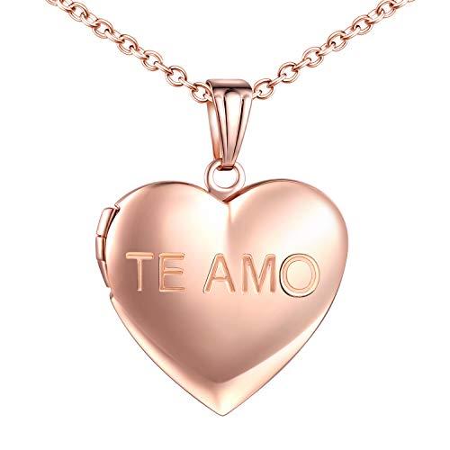 MicLee-Collares Foto para Mujer Chica'TE AMO' Amor Colgante Corazon con Cadena de Acero Inoxidable Idea Regalo del Día de la Madre Color de Oro Rosa