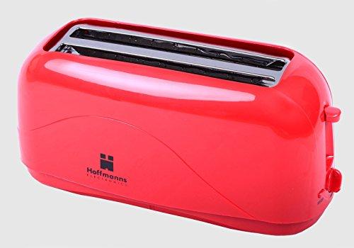 "Preisvergleich Produktbild HOFFMANNS 4-Scheiben Langschlitztoaster - Toastautomat mit ""COOL-TOUCH""-Gehäuse und herausnehmbarer Krümelschublade (Rot)"