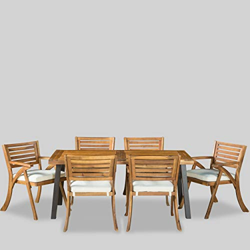 Christopher Knight Home Desoto Acacia Wood Patio Dining Set, 7-Pcs Set, Teak Finish With Rustic Metal