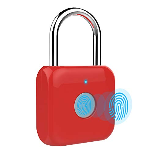 Hangslot met vingerafdruk en hangslot, keyless USB-opladen, biometrisch, hoge veiligheidsvergrendeling voor gymlocker, shed locker, magazijnunit, bagage, koffer rood