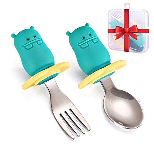 Silicone Baby Fork and Spoon Set, Easy Grip Cutlery Kit for Toddlers Self Feeding Learning, Ergonomically Anti-Choke BPA-Free Tableware with Storage Box, Training Baby Utensils, 12 Months+ (Wildhorse)