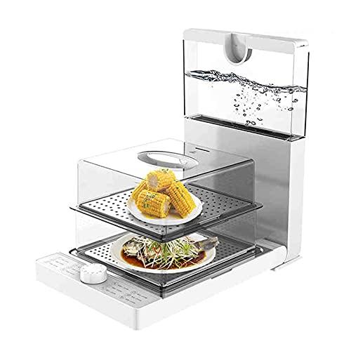 EnweMahi Vaporeras Eléctricas Multifunción 1500W,Vaporeras Eléctricas con 2 Recipientes Apilables Diseño Plegable,Pequeño Electrodoméstico para Cocinar Al Vapor Carne Y Verduras