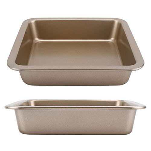 Bandeja para hornear de acero al carbono 22x22x4.6cm 2 uds lata para hornear antiadherente para rollos de canela para la cocina casera(Golden TG01#B)