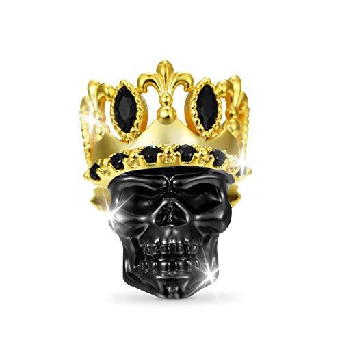 GNOCE Crown Skull Charms Perla Plata De Ley 18K Chapado En Oro Black Skull Charms Bead Fit Pulsera/Collar Para Mujeres Hombres Niñas
