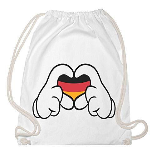 Komic Deutschland Herz Hand EM Fanartikel Turnbeutel & Gym Bag One Size Weiß