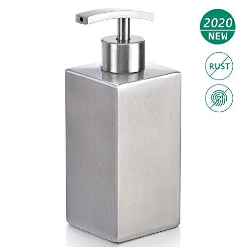 ZeMooon Edelstahl-Seifenspender – quadratischer Flüssigseifenspender Pumpflasche für Küche oder Bad (300 ml)