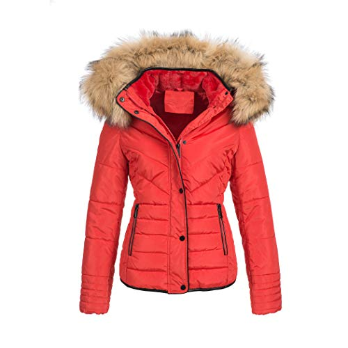 Elara Damen Steppjacke Winter tailliert Rot Chunkyrayan MP19901 Red 38 (M)