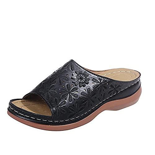 Fnho Cómodos Sandalias de Plataforma para,Sandalias de Plataforma con Correa en para Mujer,Sandalias Vintage Color Liso, Pendiente Hueca con Pantuflas-Negro_38