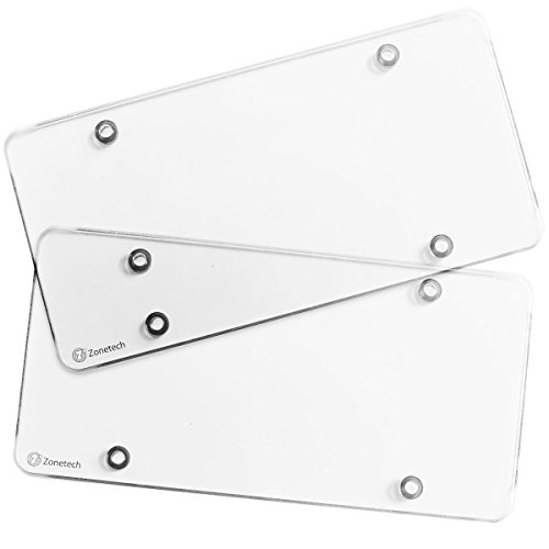 Zone Tech Car Clear License Plate Cover Frame - 2-Pack Premium Quality Novelty/License Plate Clear Flat Shields-Fits Standard US Plates