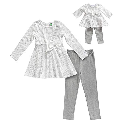 Dollie & Me Girls' Apparel Glitter Top with Leggings & Doll Outfit in, White, Size 8