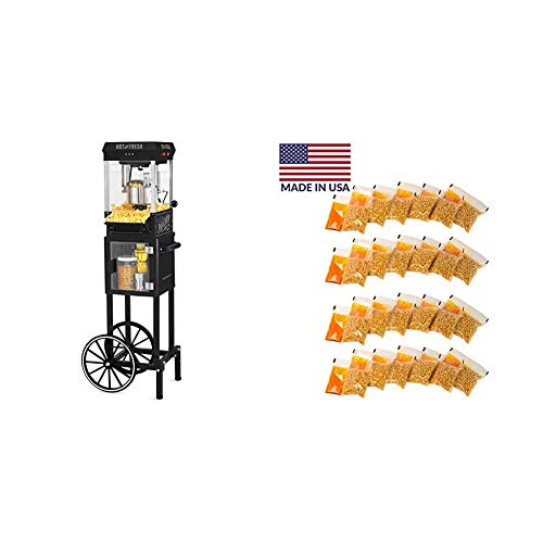 Find Bargain Nostalgia KPM220CTBK 2.5 oz Professional Popcorn & Concession Cart with 24 4-Oz. Premiu...