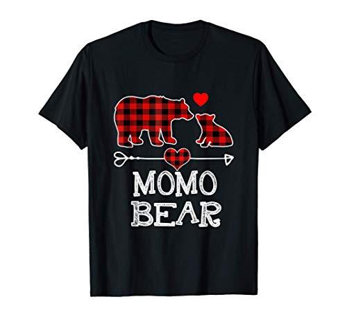 Momo Bear Christmas Pajama Red Plaid Buffalo Family Gift T-Shirt