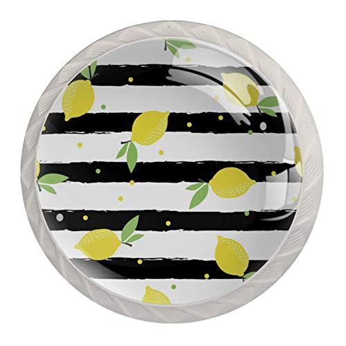 4 pomos de puerta de armario de cristal, tiradores de cajón, frutas y limón, cítricos
