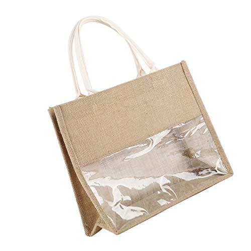 VOSAREA Lebensmittel Einkaufstasche Jute Markt Tragetasche Stoff Leere Einkaufstaschen Natürliche Leinen Taschen mit Klarem Fenster Geeignet für DIY Werbung Geschenk Werbegeschenk