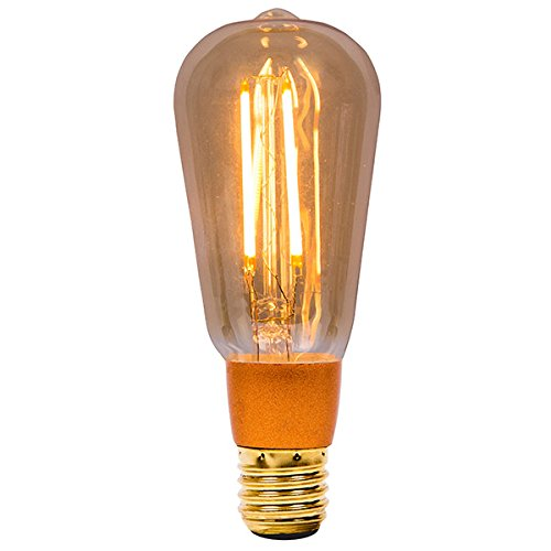 Bell 4w LED ES / E27 grote Edison-fitting Amber barnsteengeel vintage squirrel Cage Retro lamp dimbaar (01469)