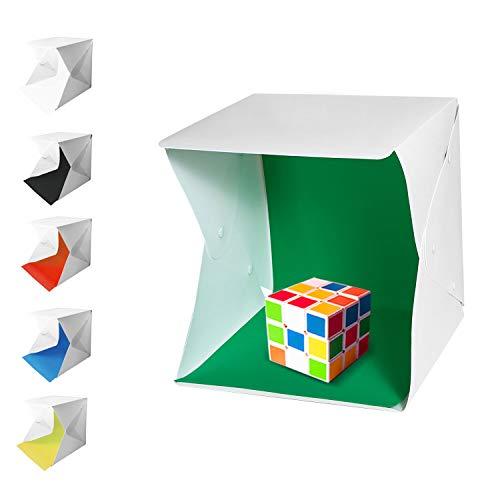 Tumax Mini Tragbares Fotostudio Schießzelt, Fotostudio 20×20cm,Kleine Faltbare 2 LED Lichtbox Softbox Kit mit 6 Farben Backdrops für Fotografie,Faltbare Foto Studio Zelt