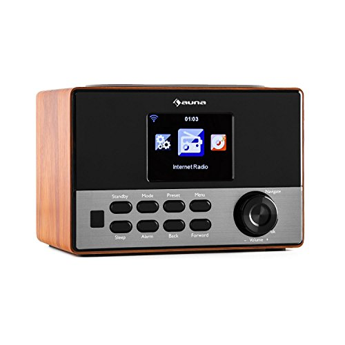 AUNA Connect 90 WN Brown Edition - Radio por Internet, WLAN, Digital, Ecualizador, Puerto USB para MP3, Función de Alarma, Modo sueño, Pantalla Color TFT de 3,2