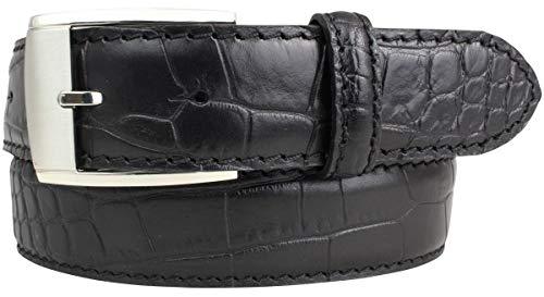 Gürtel mit Krokoprägung 3,5 cm | Leder-Gürtel für Damen Herren 35mm Kroko-Optik | Kroko-Muster Schnalle Silber | Schwarz 110cm