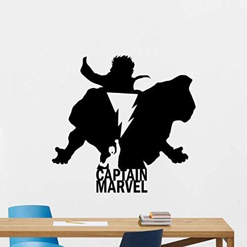 Aufkleber Kapitän Marvel Wandtattoo Silhouette Shazam Logo Superheld Comics Cartoon Poster Schablone Vinyl Aufkleber Teen Art 58X61Cm
