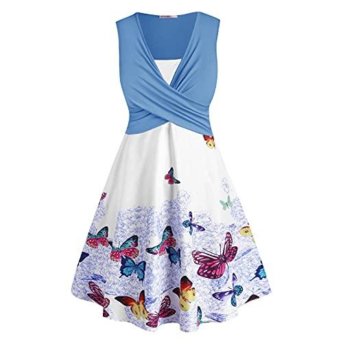 PANGKII - Vestido de camisla sin mangas con estampado de mariposa, talla grande para mujer C-azul 4X-Large