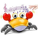 ZONICE Orange Crawling Crab Baby Toy with Music and LED Light Up for Kids, Toddler Interactive Learning Development Toy with Automatically Avoid Obstacles, Build in Rechargeable Battery