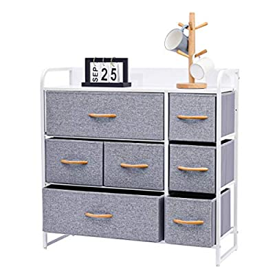 Kamiler 7-Drawer Dresser, 3-Tier Storage Organizer, Tower Unit for Bedroom/Hallway/Entryway/Closets - Sturdy Steel Frame, Wooden Top, Removable Fabric Bins